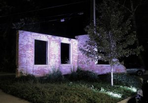 lit up brick building