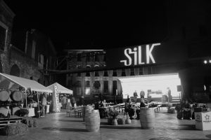 People at event at night time at silk mill